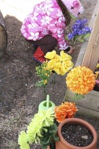artificial flowers for play in the backyard