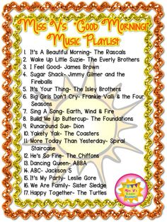 Welcome to the Kraziness of Being a Teacher!: Miss V's Classroom Music Playlist!