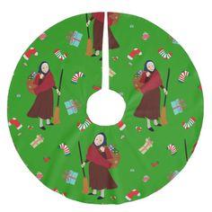 christmas Witch Befana xmas tree skirt #christmas #treeskirts #xmas #tree