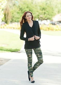 green camo leggings with cotton blend material. #bellaellaboutique