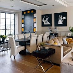 Sitting and dining areas in unifying tones | Traditional open-plan living room design ideas | Decorating | housetohome.co.uk