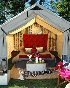 """""""glamping"""" (glam camping lol) but wouldn't it be a nice set up to have in the back yard? replace the bed with a patio set or couch and sit in the shade during the summer or have a fire during the winter :)"""