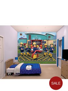 Surprise your child with an instant bedroom make-over with this Fireman Sam Wallpaper mural. There are 12 panels measuring 28 x 48 inch per piece.Wipe clean with a piece of cloth.Why not make the job even easier by purchasing the Walltastic Double Sided Mural Tape or Walltastic All Purpose Wallpaper Adhesive.To order our Walltastic All Purpose Wallpaper Adhesive just add item number 6TMK3 to your basket or to order the Walltastic Double Sided Mural Tape then just add item number 6TMK4 to…