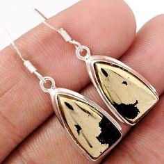 Pyrite In Magnetite (Healer's Gold) 925 Sterling Silver Earrings Jewelry PIME59 - JJDesignerJewelry