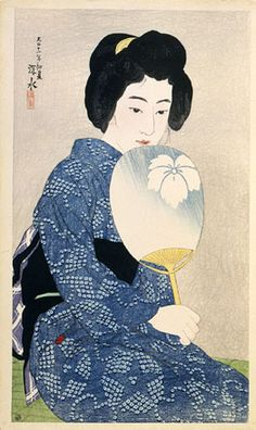 "Ito Shinsui, Twelve Images of Modern Beauties: Cotton Kimono (Shin bijin junisugata: Yukata), Taisho Period, 1922. Color woodblock print, 17 x 10"" (43.4 x 26.5 cm). Scholten Japanese Art Collection, New York, NY."