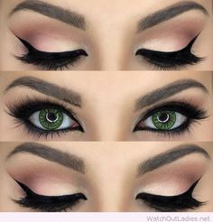 Green eye and rose eye makeup More