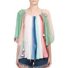 Chloe Rainbow Silk Off-The-Shoulder Blouse (£1,740) ❤ liked on Polyvore featuring tops, blouses, apparel & accessories, multi, off shoulder crop top, off shoulder tops, off the shoulder blouse, silk blouses and 3/4 sleeve blouse