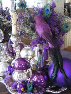 Christmas in purple mode! Purple Christmas Tree Decorations, Peacock Christmas, Decoration Christmas, Christmas Colors, Christmas Time, Christmas Wreaths, Christmas Bulbs, Coastal Christmas, Silver Christmas