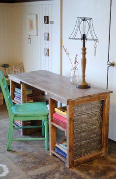 diy desk using metal ceiling tiles.  Interesting