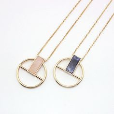 Chain Type: Link ChainShape\pattern: Circle with rectangle pendant. Circle Pendant Necklace, Agate Necklace, Green Necklace, Leather Jewelry, Metal Jewelry, Jewelry Tags, Necklace Price, Necklace Types, Gold Fashion