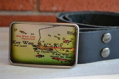 Vintage Key West Map Belt Buckle by bearweardesigns on Etsy, $24.00