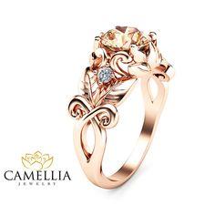 Handgemachte Rotgold Morganit Verlobungsring von CamelliaJewelry