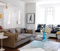 Fashion-Forward Living Room | House & Home...love the waterfall coffee table and tulip side table
