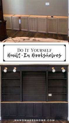 Home Diy, Bookshelves Built In, Bookshelves Diy, Home Office Design, Home Remodeling, Diy Home Improvement, New Homes, Home Projects, Basement Remodeling