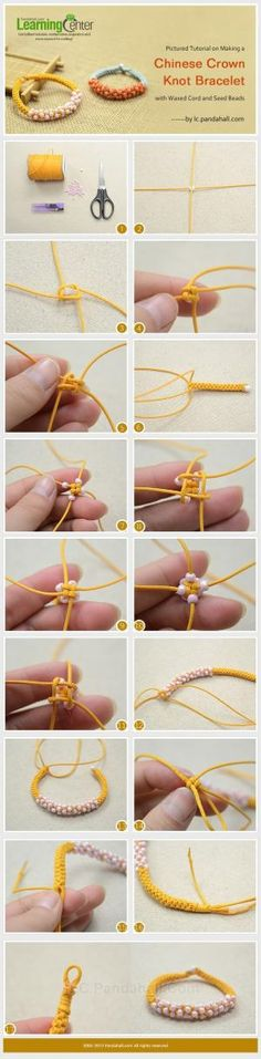 Pictured Tutorial on Making a Chinese Crown Knot Bracelet with Waxed Cord and Seed Beads by awilson8823