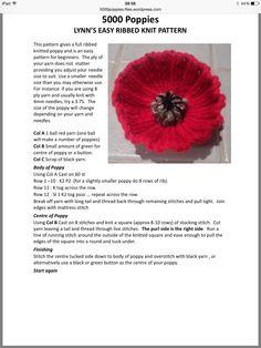 Easy ribbed knitted Poppy - Decor Tips 2019 Knitted Poppy Free Pattern, Baby Mittens Knitting Pattern, Knitted Flower Pattern, Knitted Poppies, Knitted Flowers, Crochet Patterns Amigurumi, Knitting Stitches, Knitting Patterns Free, Free Knitting