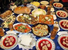 Traditional polish Christmas Eve dinner has to have 12 dishes representing the 12 apostles.