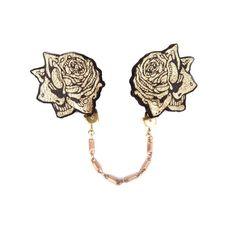 Gold printed Leather Rose Collar Brooches   rosita bonita