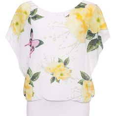 Asha Floral Butterfly Chiffon Top ($28) ❤ liked on Polyvore featuring tops, yellow, floral print sleeveless top, floral tops, white sleeveless top, yellow sleeveless top and sleeveless tops