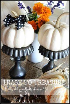 TRASH TO TREASURE-giving candlesticks new life as a chic pedestal stonegableblog.com