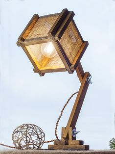 Folding Wooden Lamp with burlap lamp shades #Burlaplamp #TableLamp #Woodenlamp #torchere #Foldinglamp #WoodLamp #Lampshades #FloorLamp #Desklight #Burlap #Rustic #Rusticlamp #Rusticdesign #Constructivism #Etsy