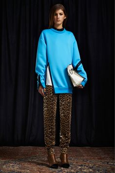 Phillip Lim -- fab scuba-style sweater and leopard pants, a total downtown hit!