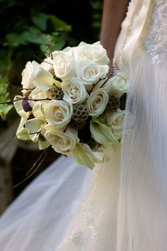 Taupe Bridal Bouquet with Ivory and White