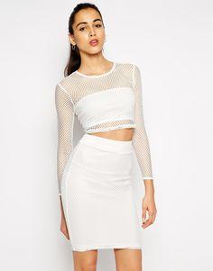 AX Paris Mesh Crop Top and Pencil Skirt Set