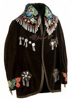 American Jingle Cones Beaded Smoking Jacket, given to Stafford King in the early at his induction into the White Earth Band of Ojibwa. Native American Clothing, Native American Crafts, Native American Beadwork, Native American Fashion, Native American Indians, American Indian Art, Native Beadwork, Smoking Jacket, Beaded Jacket