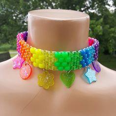 Kandi Cuff, Kandi Bracelets, Beaded Bracelets, Choker Necklaces, Rainbow Choker, Kandi Patterns, Stitch Patterns, Pony Beads, Cute Jewelry
