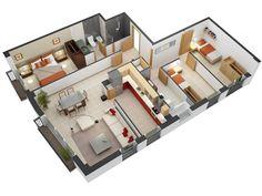 25 More 3 Bedroom 3D Floor PlansBedrooms