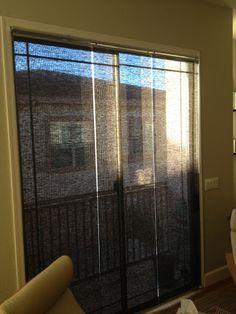 IKEA KVARTAL mounted inside a sliding glass window