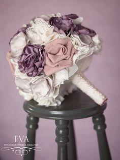 Romantic vintage fabric bouquet purple by Lisasfabricbouquets, $535.00