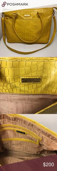 Etienne Aigner Tote Like New! Loads of space, phone compartment, you can fit 17inch laptop, ipad etc, outside compartment with zipper, Height 12.2 inches, Width 19.5 inches, comes with adjustable/removable strap, Great quality, made with %100 pvc, Etienne Aigner Bags Totes