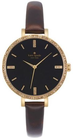 Kate Spade New York 'metro' Crystal Bezel Leather Strap Watch, 34mm
