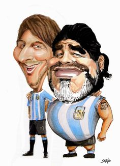 Two great Argentine Foootballers: Lionel Messi and Diego Armando Maradona Cartoon Faces, Funny Faces, Cartoon Art, Cartoon Characters, Funny Caricatures, Celebrity Caricatures, Realistic Cartoons, Character Art, Character Design