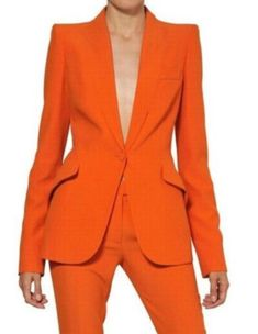 Women Pant Suits Ladies Custom Made Formal Business Office Tuxedo Jacket+Pants Suits Female Office Uniform - Coral Red, XS - & Blazer Jackets For Women, Blazers For Women, Pants For Women, Clothes For Women, Women Blazer, Suits Women, Orange Suit, Orange Pants, Orange Jacket