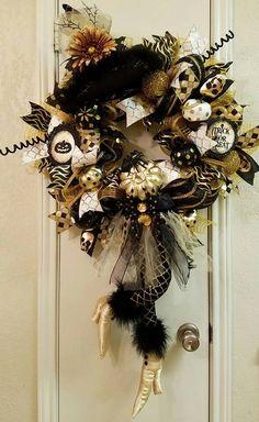 Witch Wreath, Halloween Wreath, Halloween Decor, Witch Decor,Door Halloween…