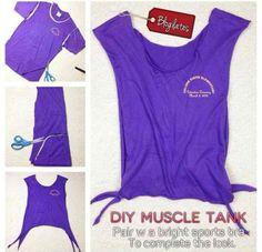 Race shirt into a Muscle tank DIY