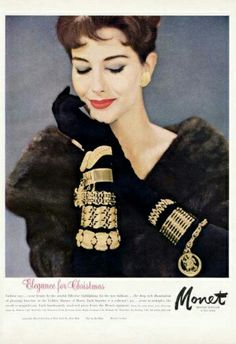 Monet Jewelry, Accessory Tip: Wear bracelets over gloves this winter, to add a vintage accent to an otherwise clunky necessity Jewellery Advertising, Jewelry Ads, Fashion Jewelry, Jewelry Findings, Fashion Accessories, Vintage Costume Jewelry, Vintage Costumes, Vintage Jewelry, 1950s Jewelry