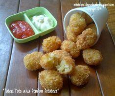 """Dapur Bunda : Enjoy Your Homemade: """"Tater Tots a.a PomPom Potatoes"""" Potato Tots, Potato Snacks, Savory Snacks, Tater Tots, Tofu Recipes, Seafood Recipes, Snack Recipes, Dessert Recipes, Cooking Recipes"""