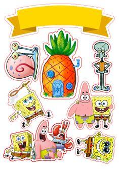 Cartoon Stickers, Tumblr Stickers, Cute Stickers, Spongebob Birthday Party, Birthday Diy, Cake Birthday, Happy Birthday, Diy Cake Topper, Cake Toppers