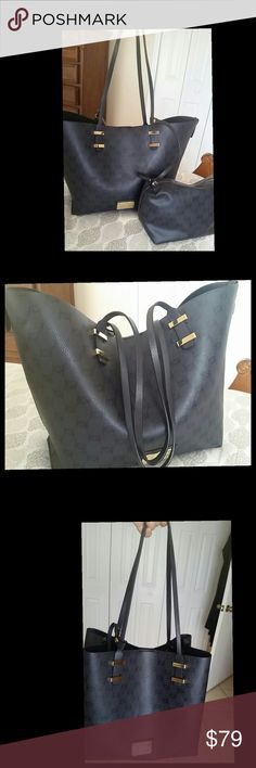 Selling this NWT Bebe Alexis Black Tote with Cosmetic Pouch on Poshmark! My username is: saadia007. #shopmycloset #poshmark #fashion #shopping #style #forsale #bebe #Handbags