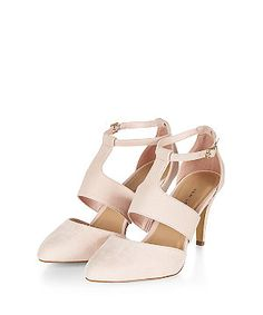 Wide Fit Pink High Vamp Cut Out Ankle Strap Heels  | New Look
