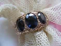 Victorian 10K Sapphire Ring Trilogy Ring Past by AndOnToWillow