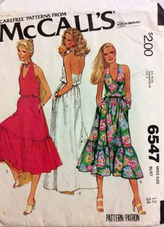 1970s halter neck sun dress with flounced hem McCalls 6574 vintage sewing pattern Bust 34 Retro 70s boho resort wear by 101VintagePatterns on Etsy