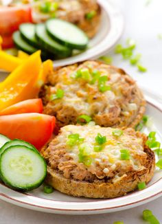 Healthy Tuna Melt Recipe with wild tuna, a bit of cream cheese and no mayo, served on whole grain English muffin. | ifoodreal.com