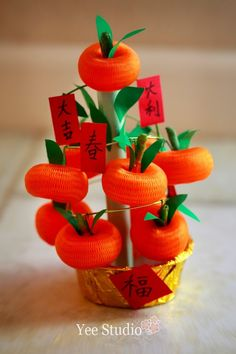 Material:   Tangerine - Net (can be found as garlic/ onion packaging sold in the supermarket).   Fan - Angpow packets