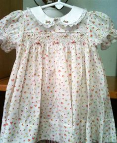Heirloom Creations Fine Sewing Shop, LLC, sweet little print dress with embroidery on collar