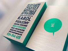 "Letterpress Business Card by Karol Podlesny, via Behance  On the back side there is a little minimalistic cloud with just one sentence inside: ""Hi."" - for the purpose of breaking the ice ;) and the QR code links to my responsive site. Hope the overall feelings are positive."